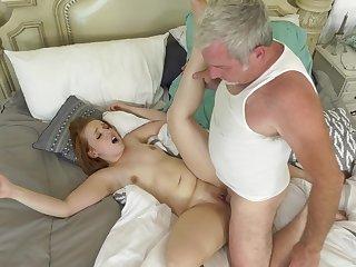 Senior man deep fucks younger step daughter