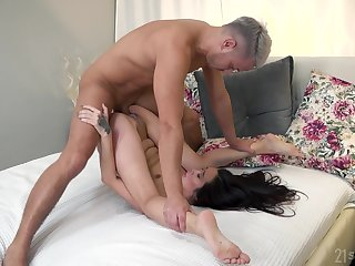 Asian close to thirsty mouth, insane bedroom porn vulnerable a white dong