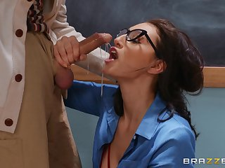 Complete oral fun in eradicate affect vestibule with eradicate affect teacher's old cock