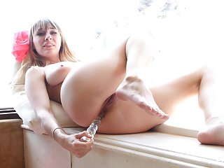 Trollop sticks entire toy down the ass for a fabulous anal play