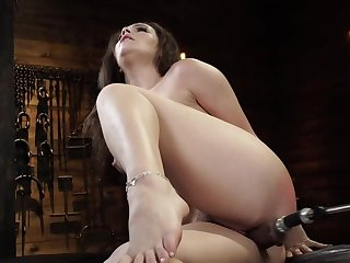 Curvy girl is moaning while fucking machine drills her cunt