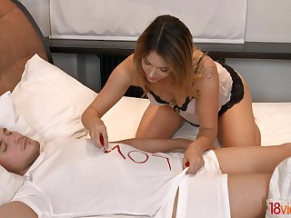 Sleeping dude is woken up as Russian babe Ani Black Fox gives on the mark head