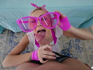 Teen in pink glasses Chloe Chapel is fucked hard by brutal unclothed head man