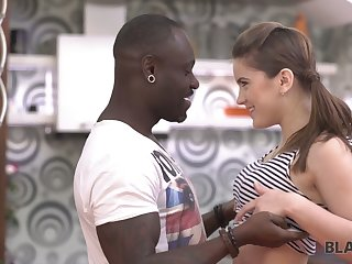 Charming white teen Evelina Darling is making love with black boyfriend