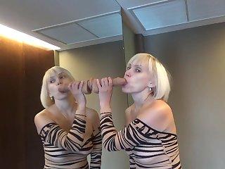 Big dildo on the mirror fucked me indestructible