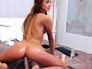 lovely wild tolerant masturbating and riding dildo