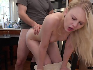 Pretty stepdaughter Lily Rader gets a mouthful be useful to cum after crazy sex around the kitchen