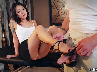 Nude Korean Saya Song gives a footjob and blowjob take clothed married man